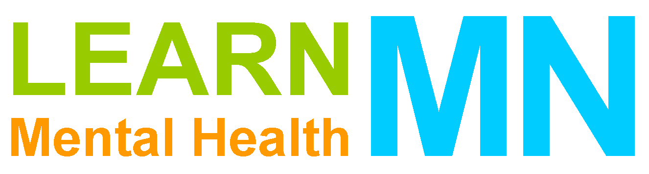 Logo, LEARN Mental Health MN in green, orange, and blue